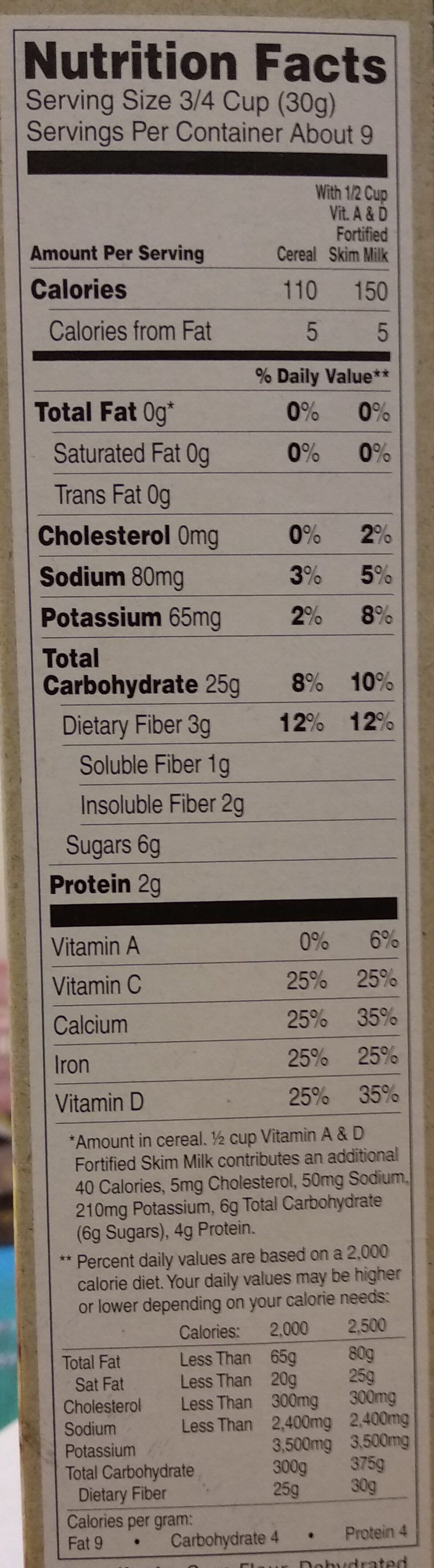 Multigrain Puffins Cereal - Nutrition facts