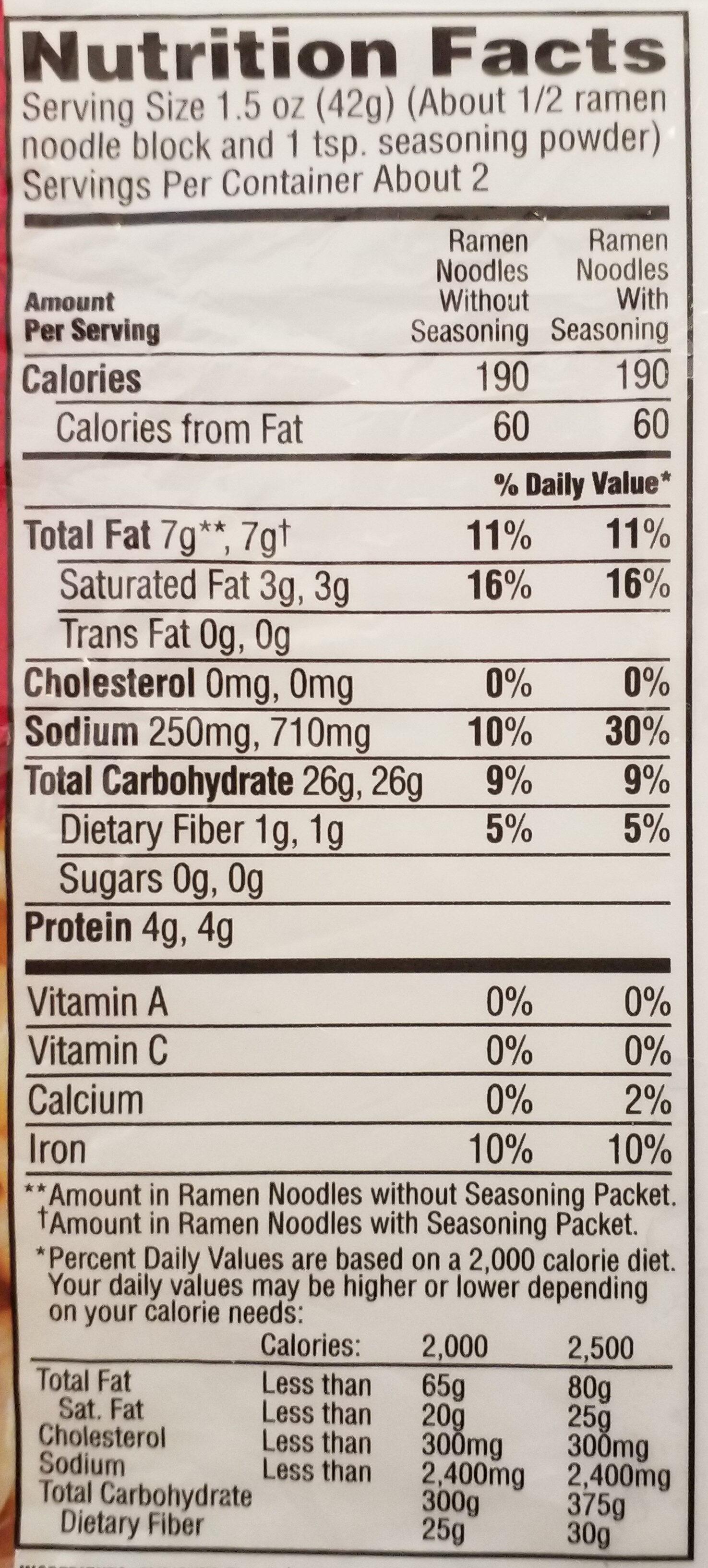 Top Ramen, Ramen Noodle Soup, Beef - Nutrition facts