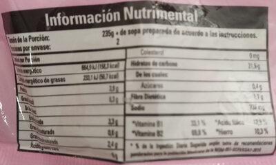 Sopa Nissin sabor a camarón tipo ramen - Informations nutritionnelles - es