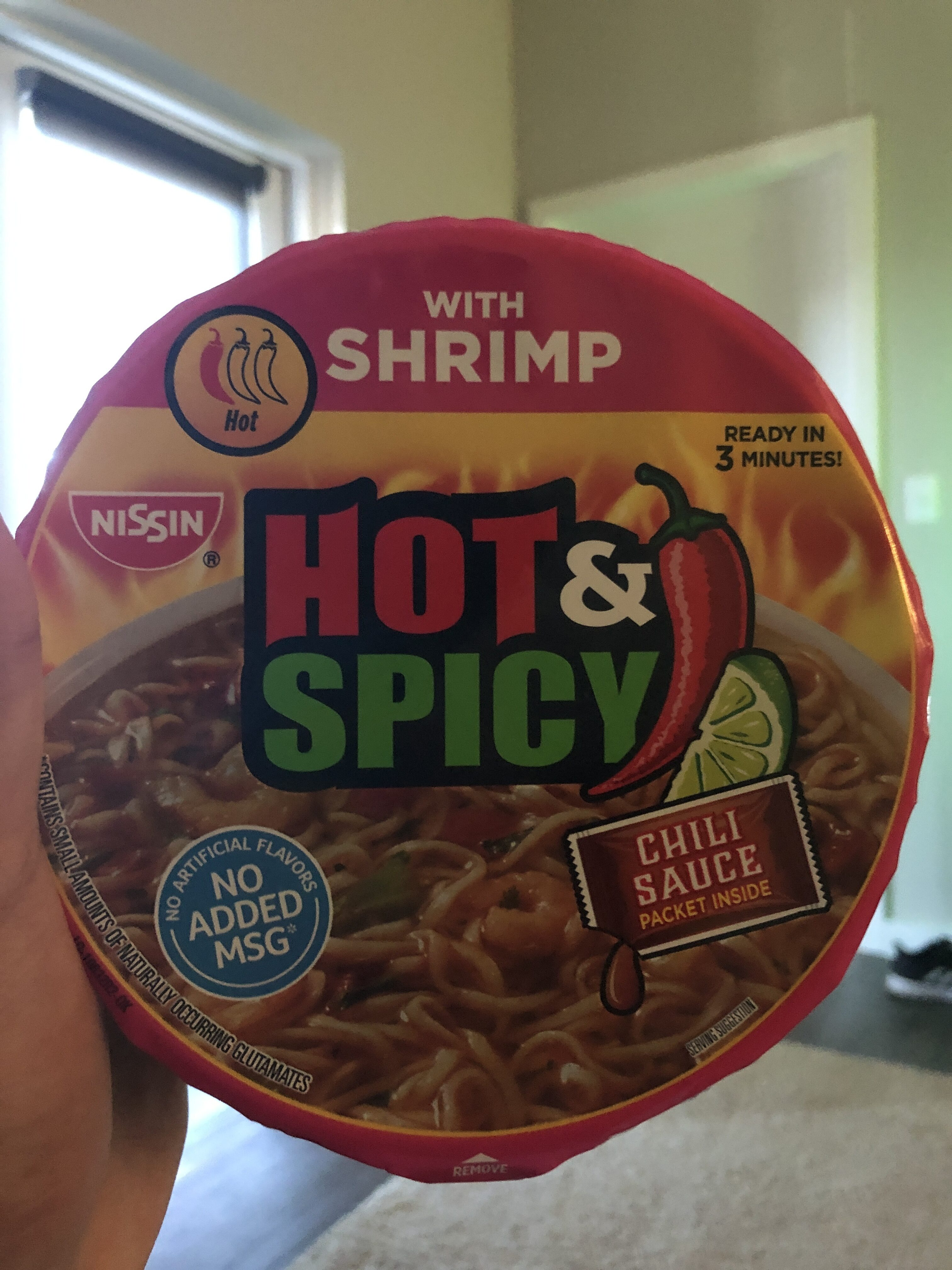 Bowl Noodles, Ramen Noodle Soup With Shrimp, Hot & Spicy - Product