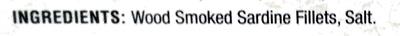 Skinless Boneless Smoked Sardine Fillets - Ingredients