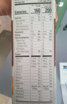 Toasted whole grain oat cereal - Informations nutritionnelles - en