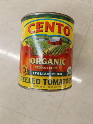 Organic whole peeled tomatoes in juice with basil leaf - Produit