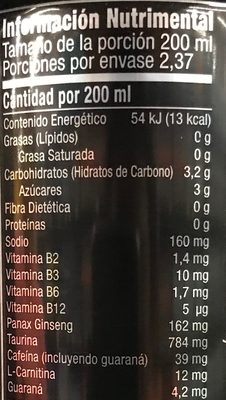 Monster Energy Lo-carb - Informations nutritionnelles
