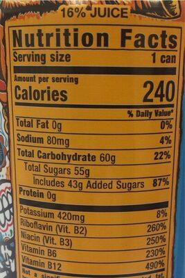Energy juice - Nutrition facts - en