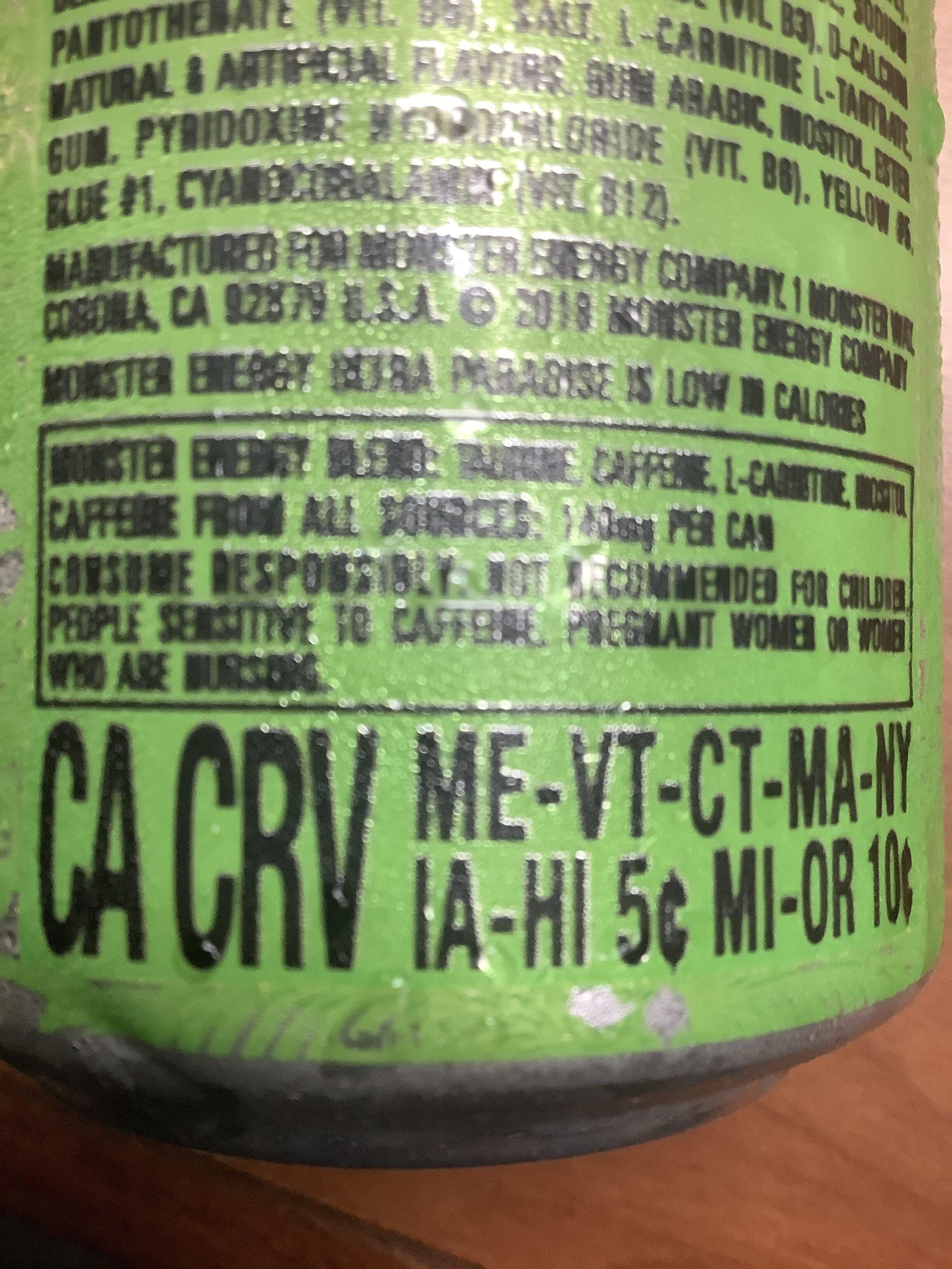 Monster ultra paradise energy drink - Instruction de recyclage et/ou informations d'emballage - en