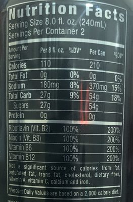 Monster Energy - Informations nutritionnelles