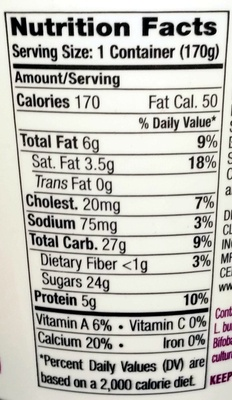 Cream on Top Forest Berry Organic Yogurt - Nutrition facts