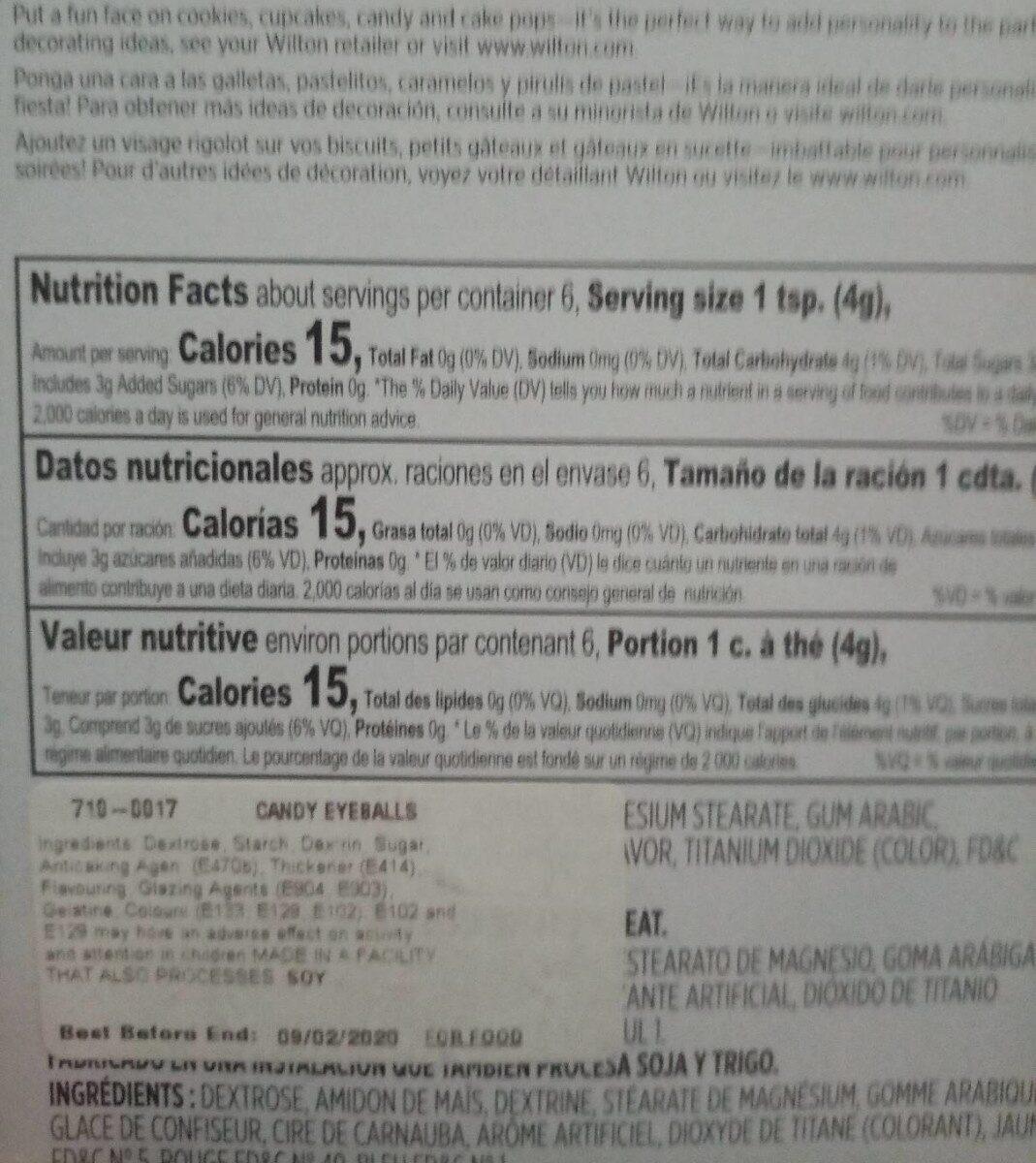 Candy eyeballs - Nutrition facts - en