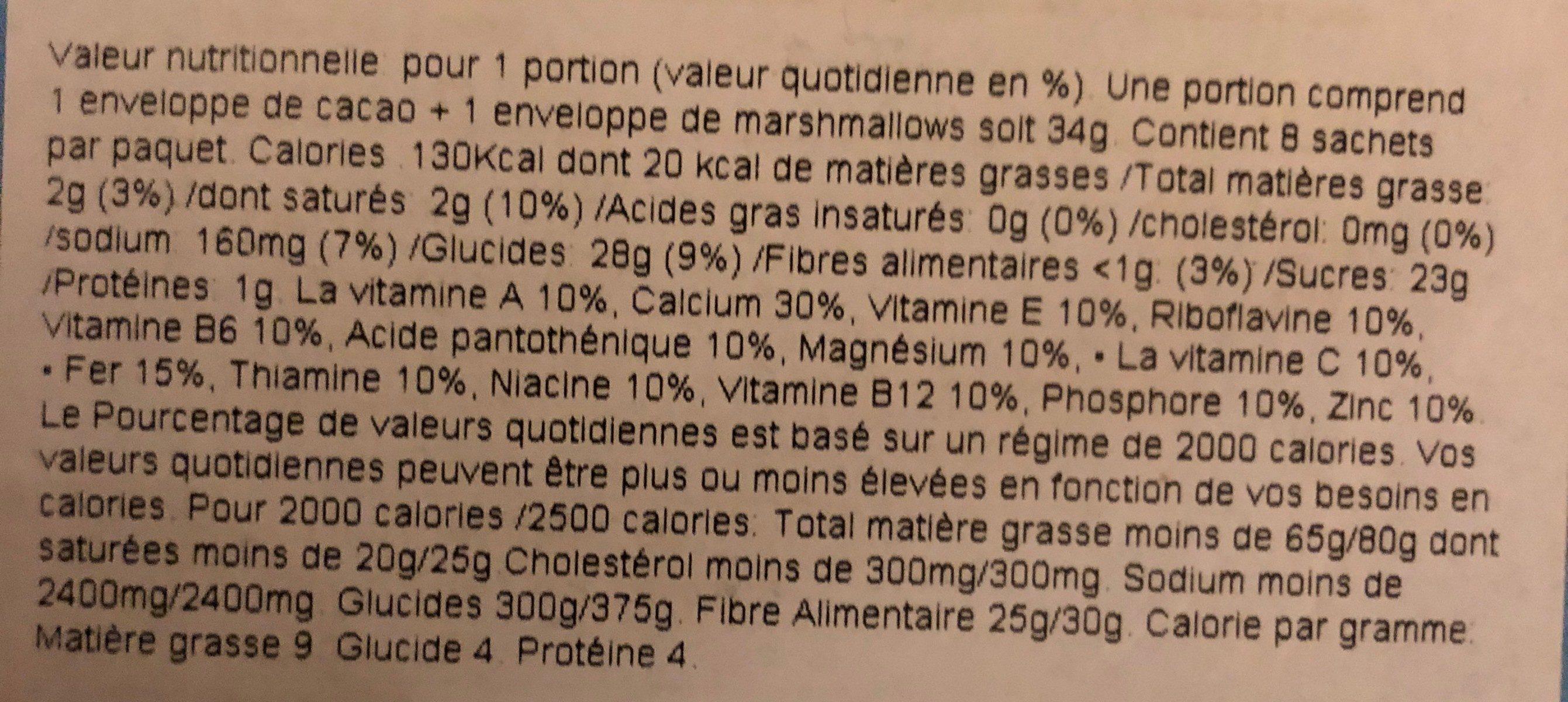 Swiss Miss Marshmallow Madness - Informations nutritionnelles - fr