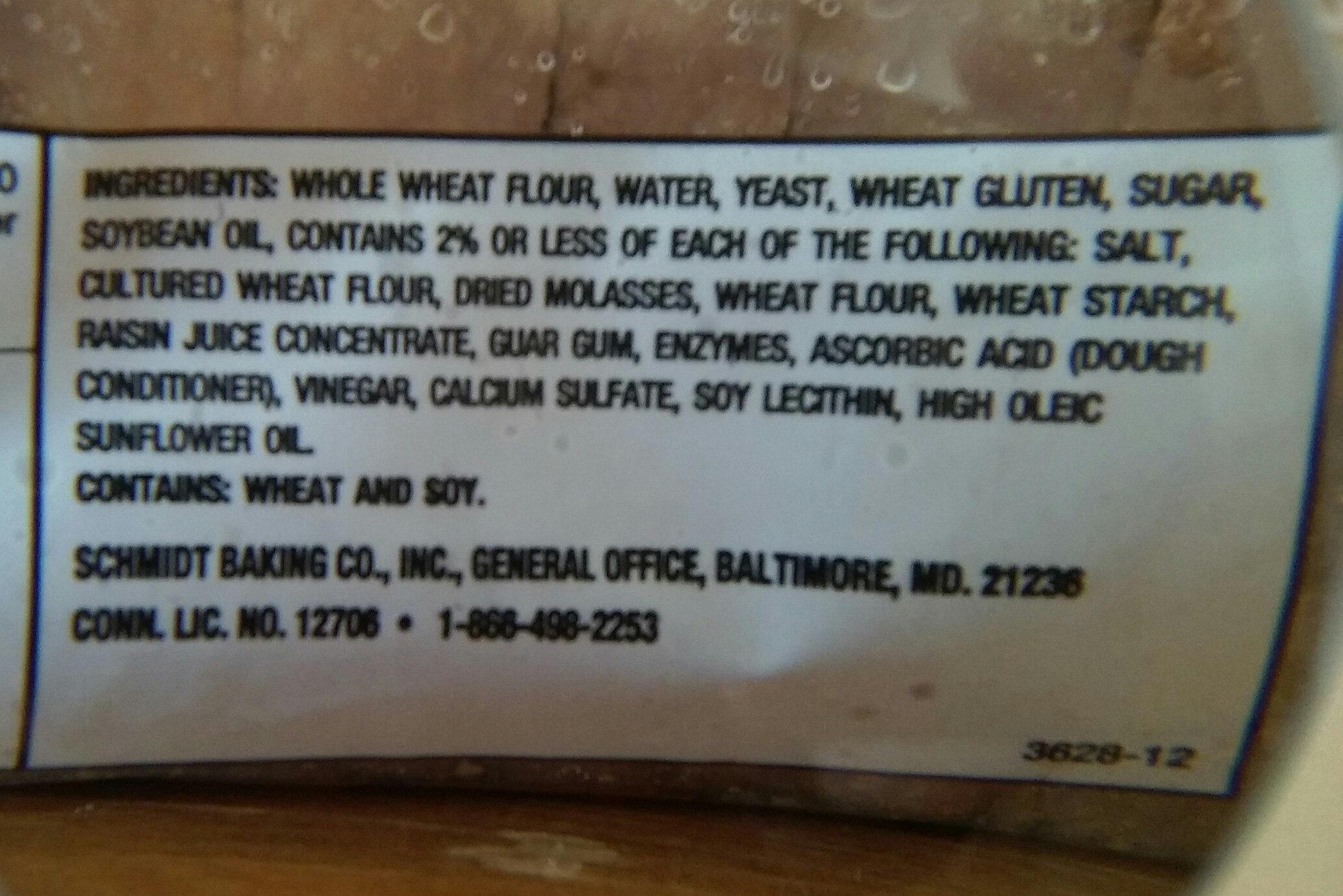 100% whole wheat bread - Ingredients - en