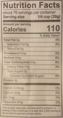 Unbleached All-Purpose Flour - Nutrition facts