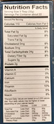 Gluten free all-purpose flour - Nutrition facts