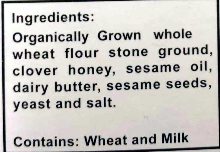 Sesame Cracker - Ingrédients