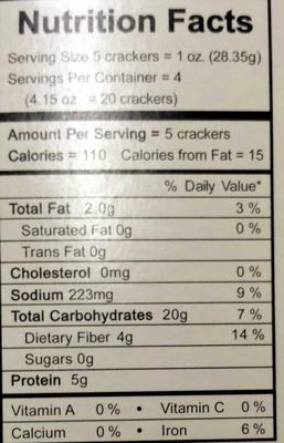 Sesame Cracker - Nutrition facts