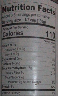 Garbanzo - Nutrition facts - en