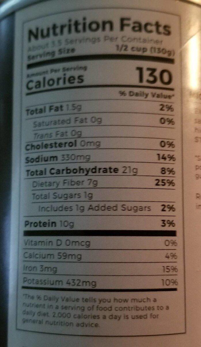 Teasdale simply especial chipotle rojo beans - Informations nutritionnelles - en
