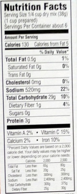 Dirty Rice Mix - Nutrition facts