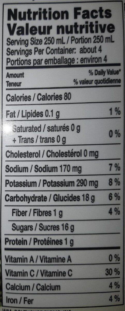 Jus légumes verts - Nutrition facts - en