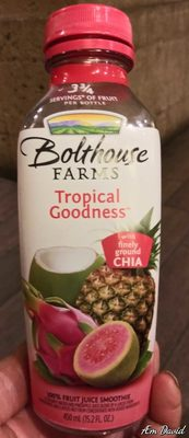Bolthouse farms, fruit juice smoothie + boosts with finely ground chia, tropical goodness, tropical goodness - Product - en