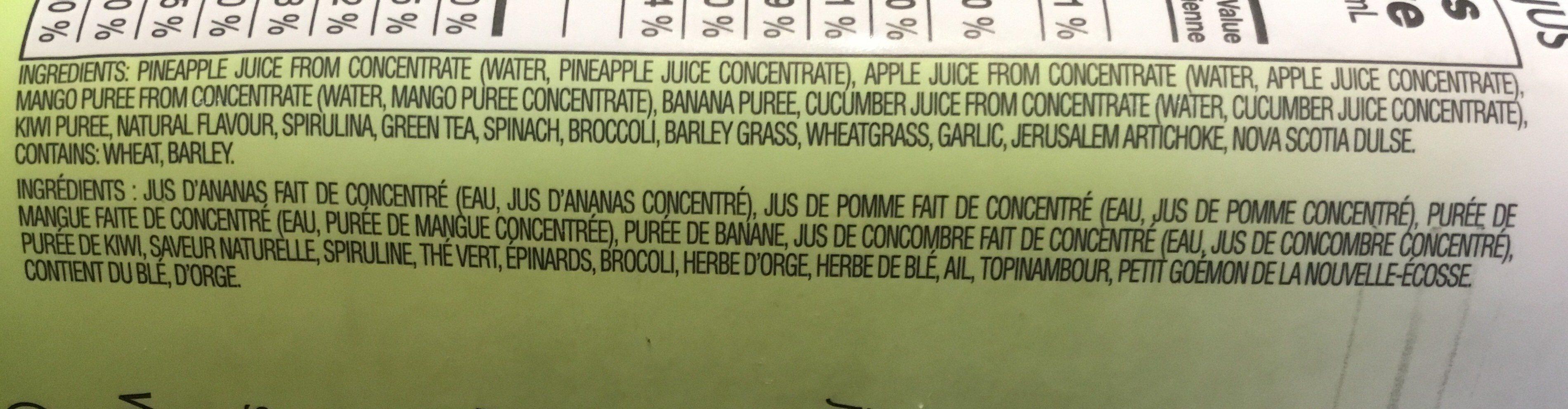 100% fruit juice smoothie, green goodness - Ingrédients - fr