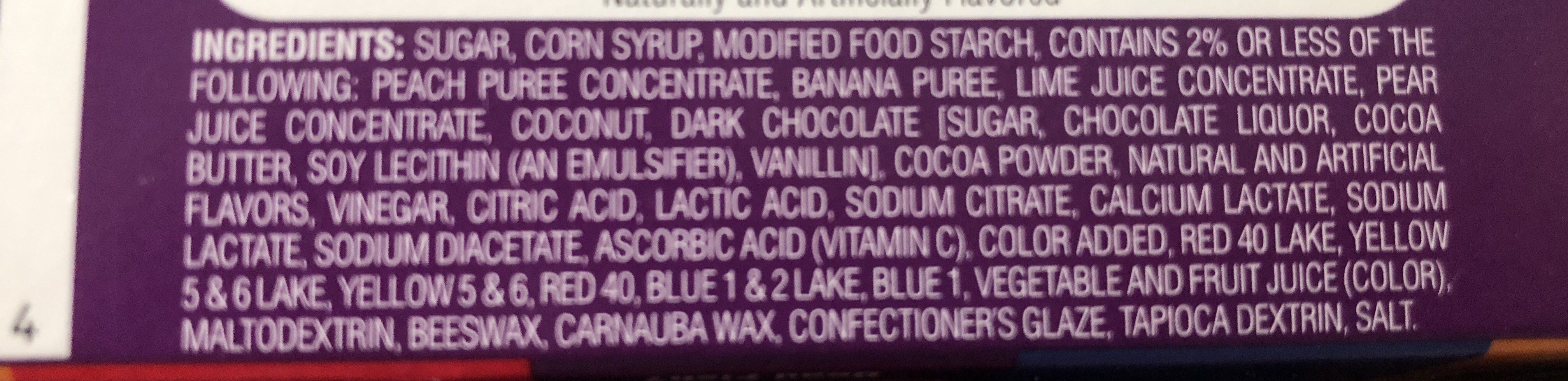 Jelly beans, stink bug, toasted marshmallow, dirty dishwater, birthday cake, rotten egg, buttered popcorn, toothpaste, berry blue, barf, peach, canned dog food, chocolate pudding, booger, juicy pear, spoiled milk, coconut, stinky socks, tutti-fruitti, dea - Ingredients - en