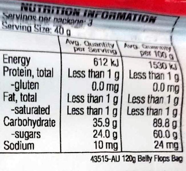 Belly Flops - Nutrition facts - en