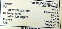 Bertie Bott's Beans Jelly Beans - Informations nutritionnelles