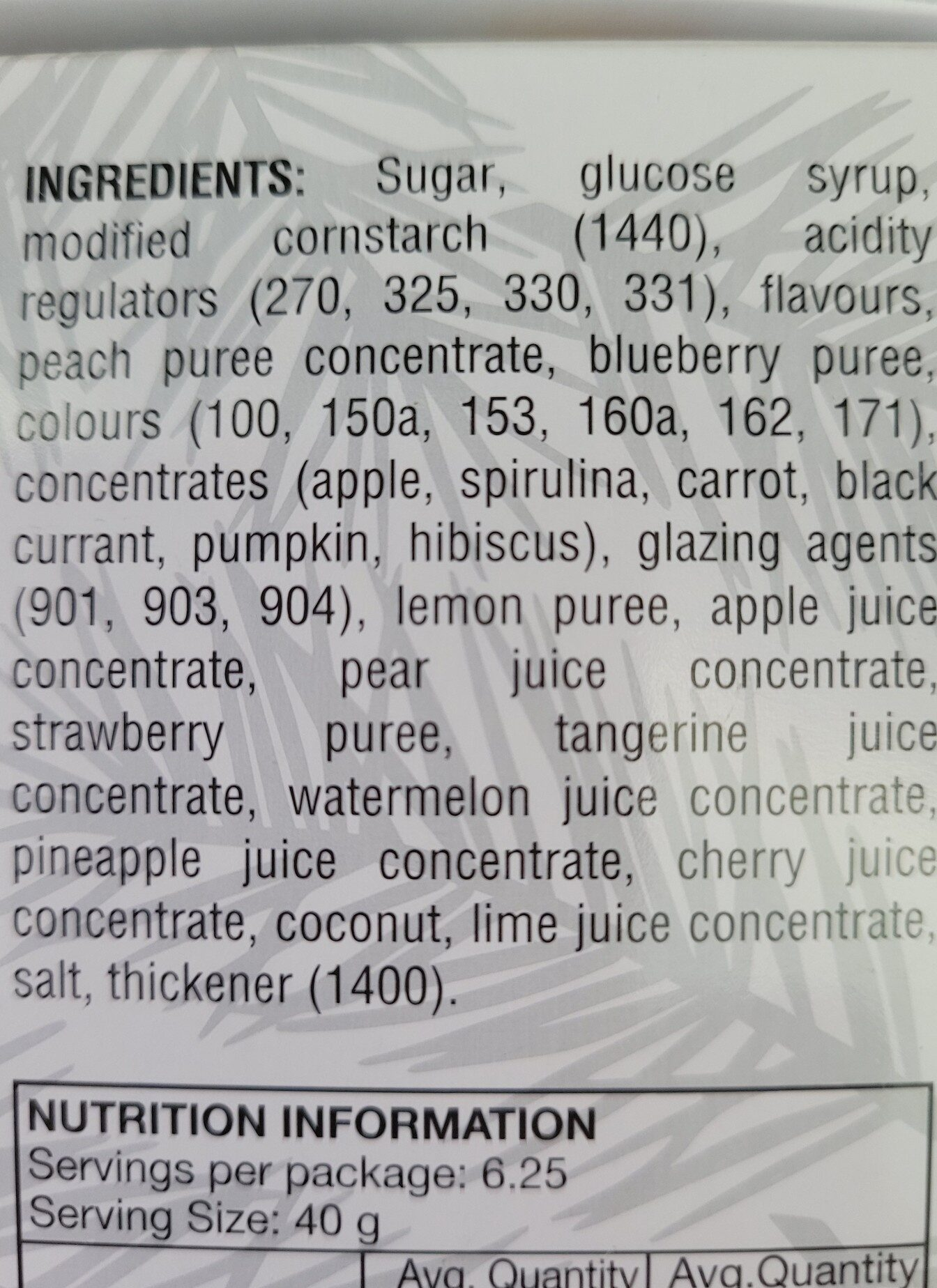 Jelly Belly jelly beans - Ingredients - en