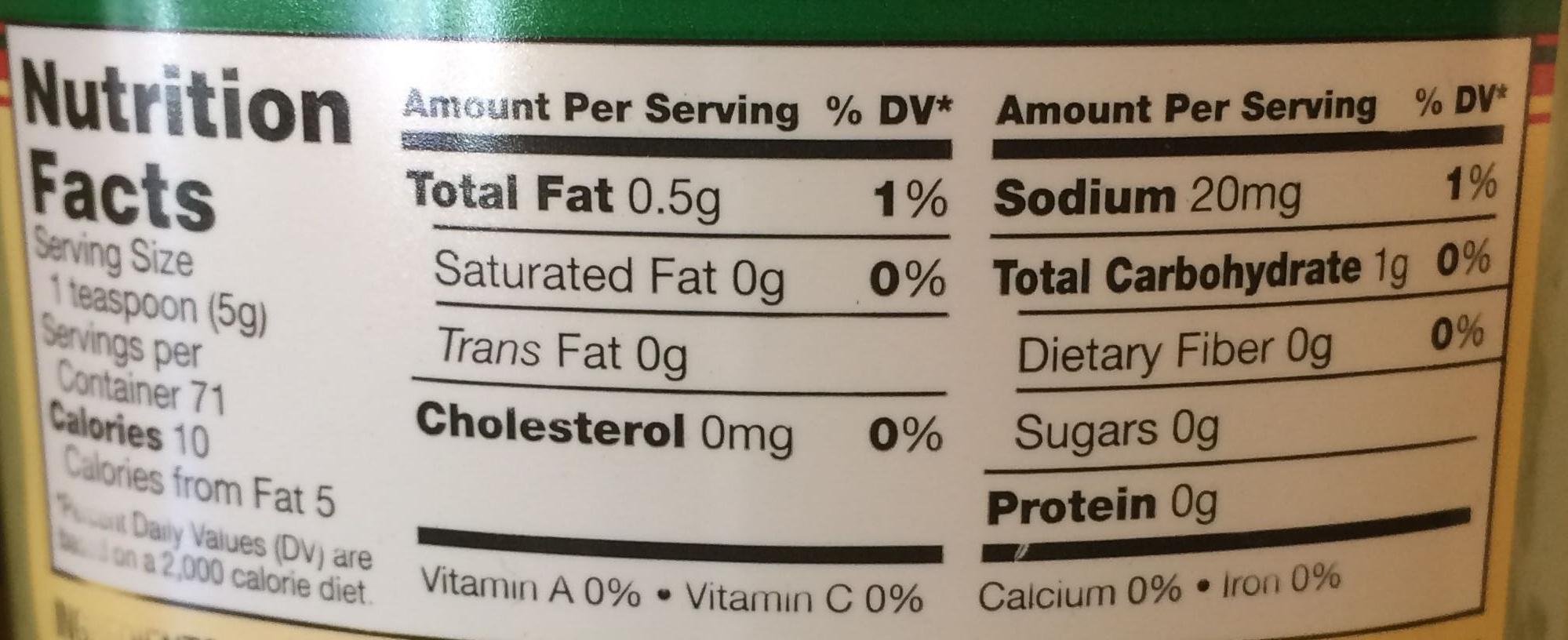 Extra Hot Wasabi Horseradish - Nutrition facts