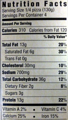 four cheese pizza - Nutrition facts