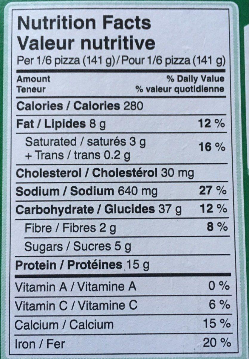 Pizza Lève-au-Four Poulet Épicé Deluxe - Informations nutritionnelles