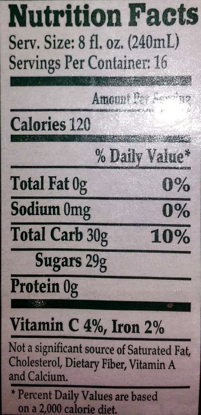Apple Cider - Nutrition facts - en
