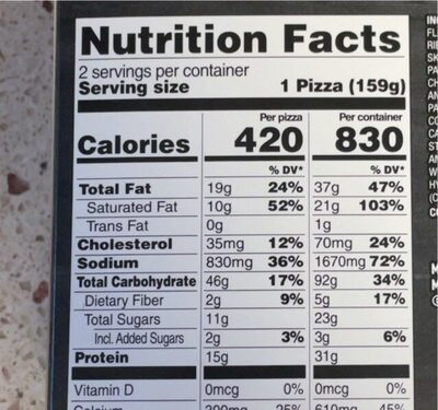Deep dish singles four cheese pizza - Valori nutrizionali - en