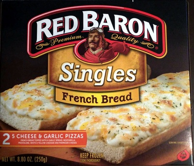 Red baron, premium quality singles french bread, cheese & garlic pizzas - Product - en