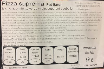 Red baron, classic crust supreme pizza - Nutrition facts - en