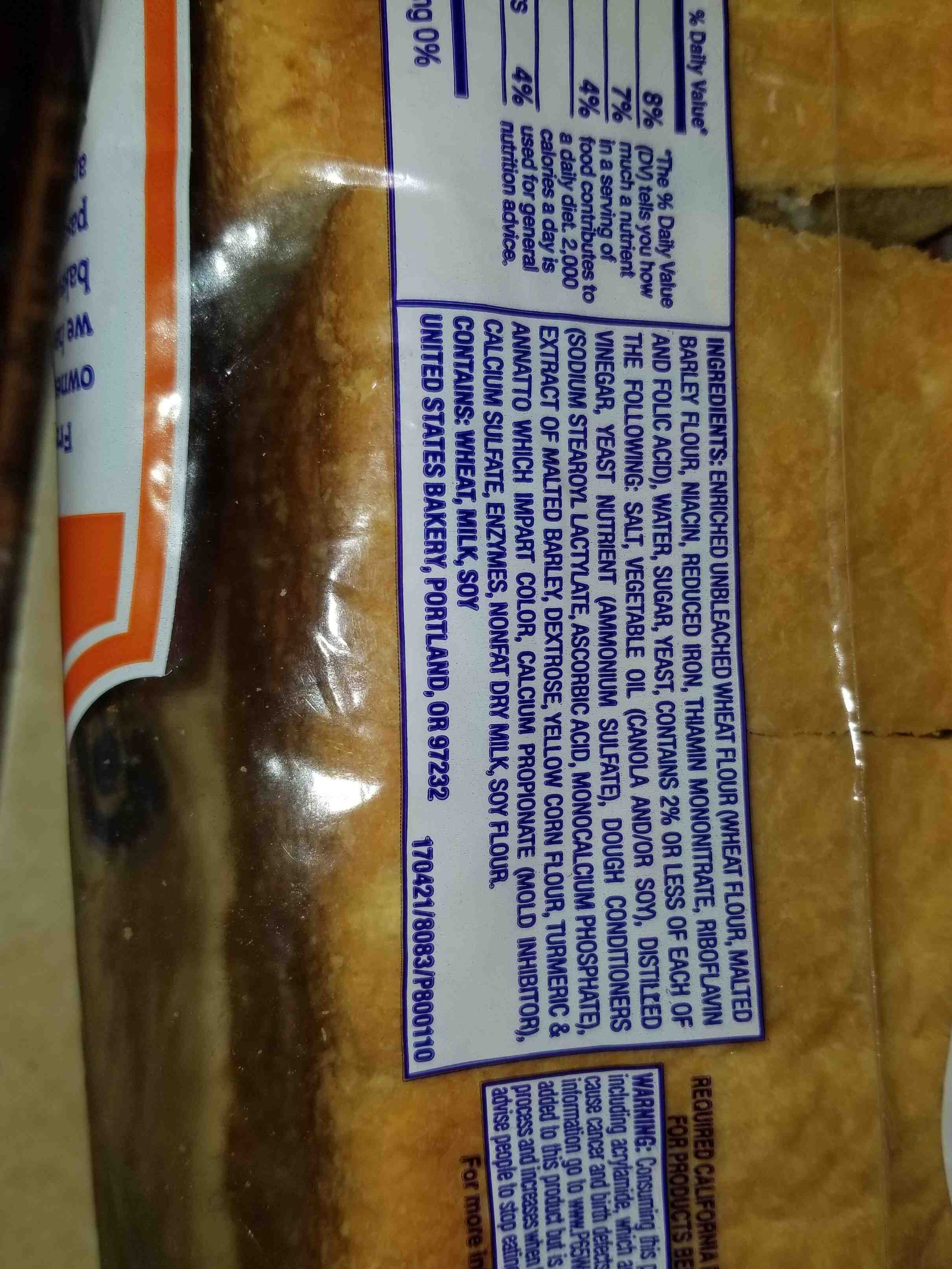 Thick sliced texas toast premium bread - Ingredients - en