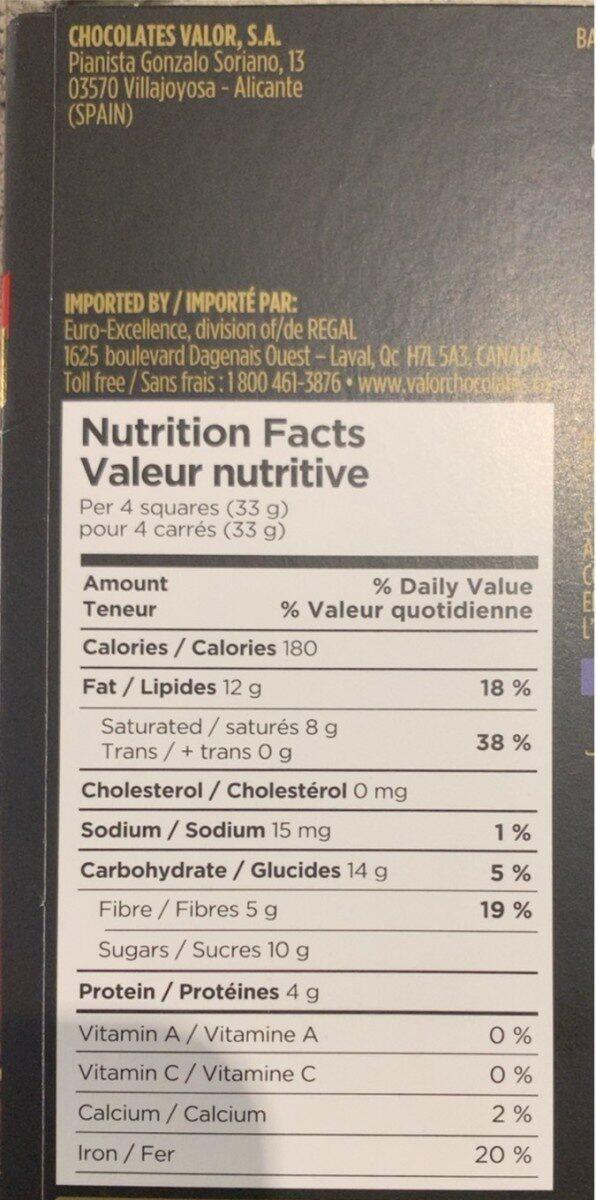 Intense Dark Chocolate - 70% cacao - Voedingswaarden - en