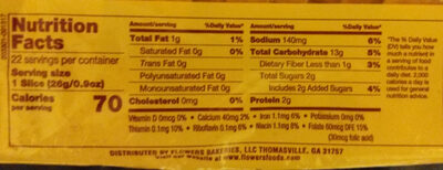 Wheat Enriched Bread - Nutrition facts - en