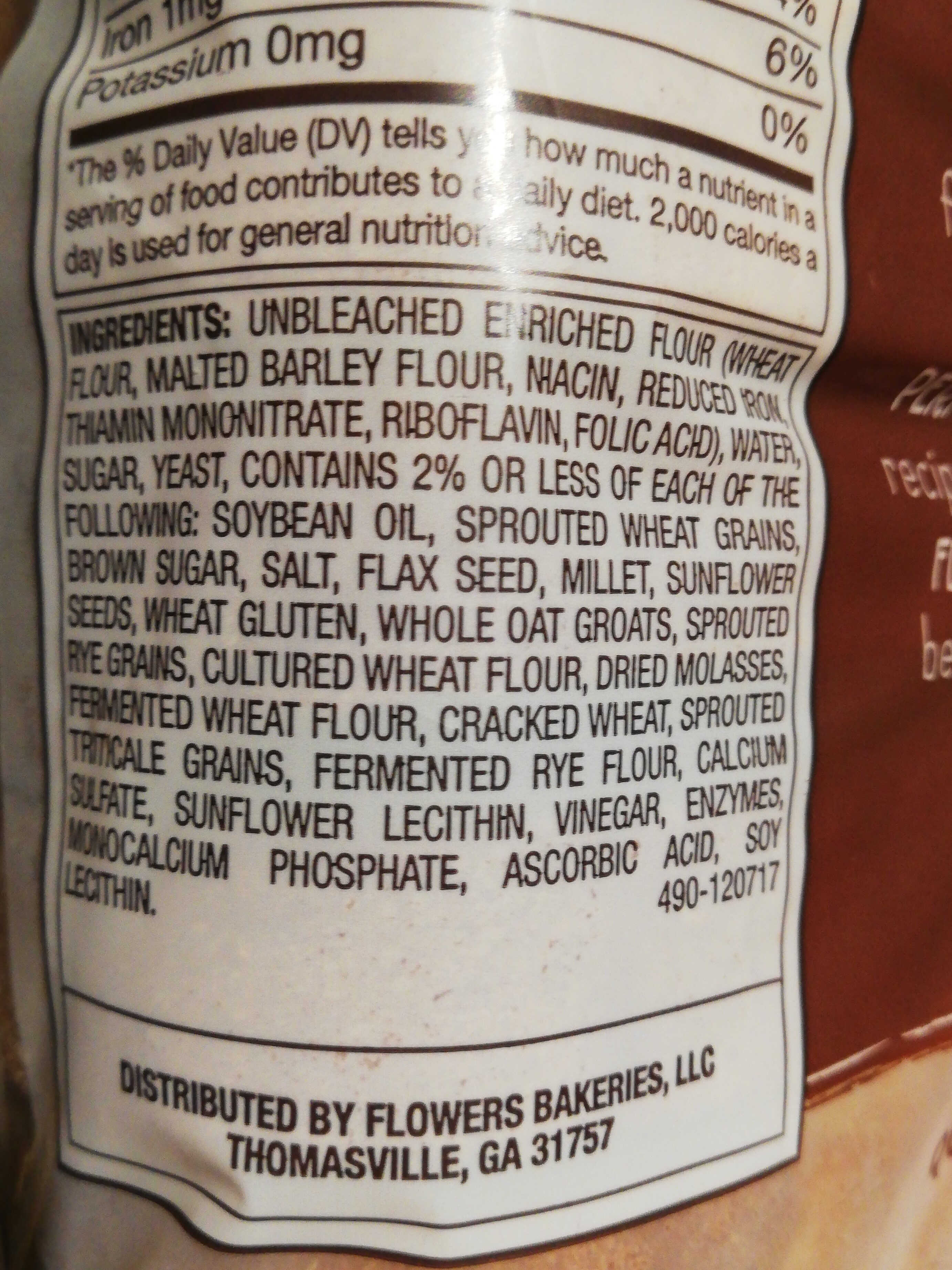 Thick sliced multigrain bread - Ingredients - en
