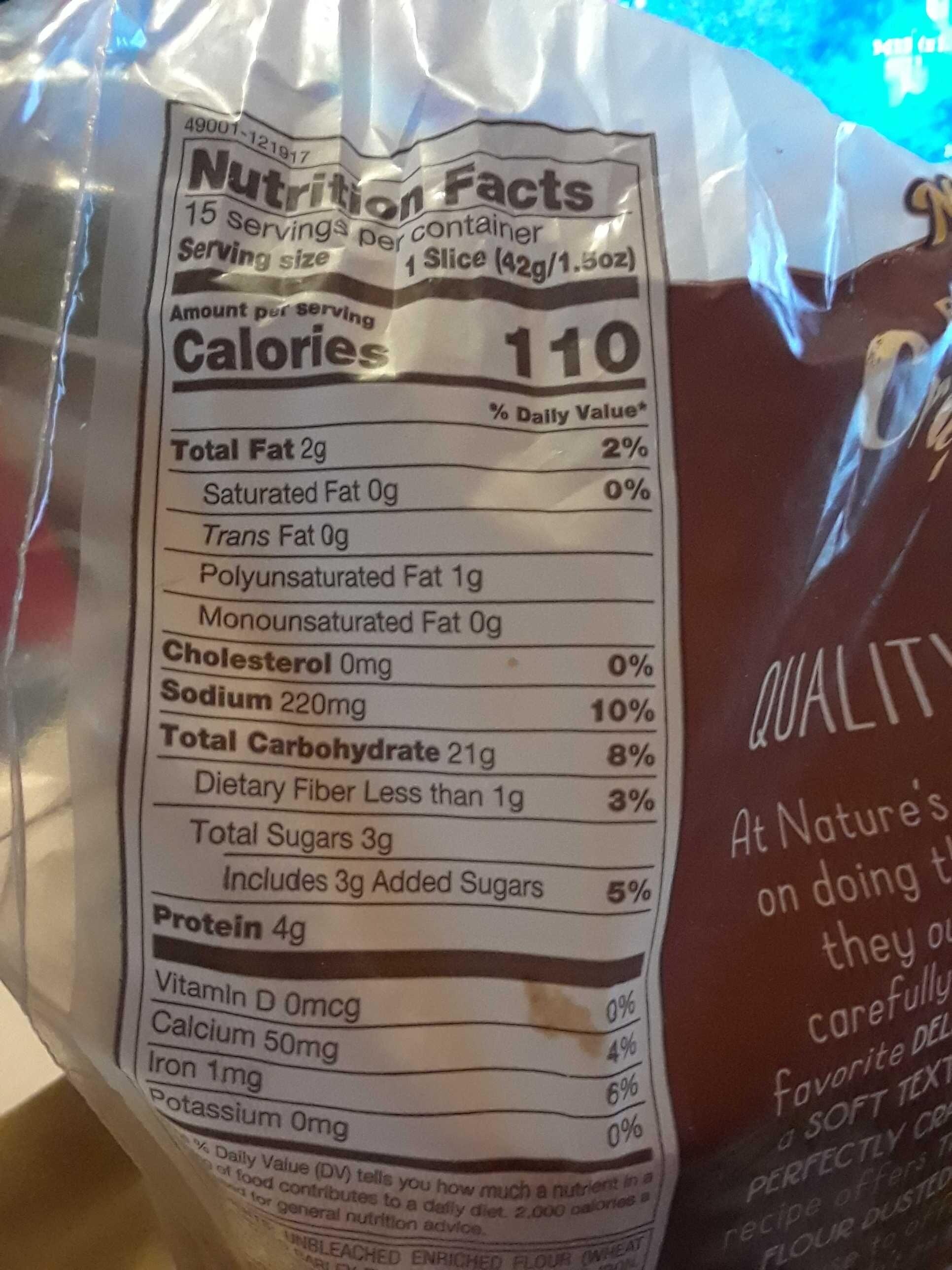 Thick sliced multigrain bread - Nutrition facts - en