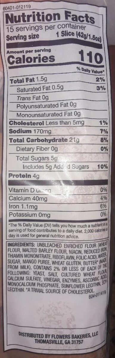 Perfectly crafted brioche style bread - Nutrition facts - en
