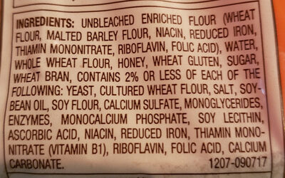 Honey wheat enriched bread, honey wheat - Ingredients - en