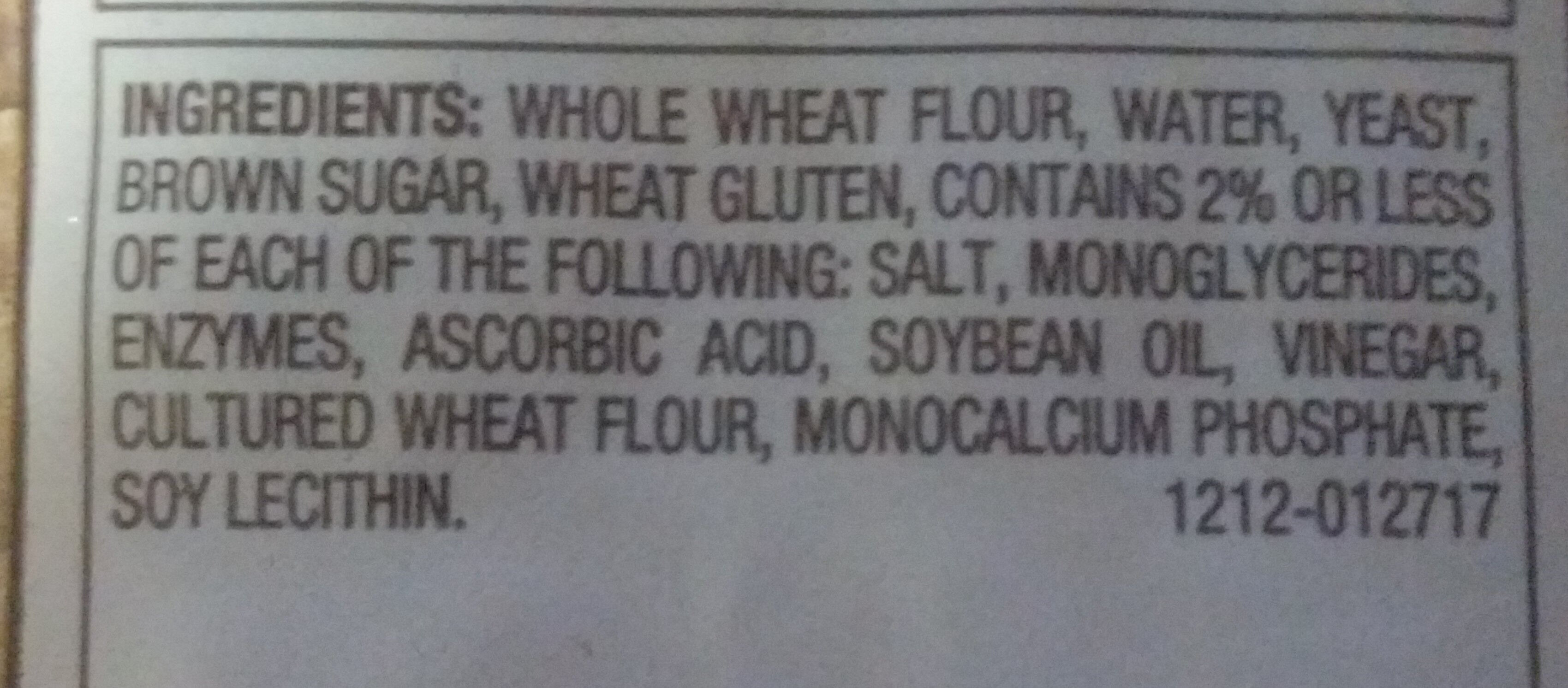 100% Whole Wheat Bread - Ingredients