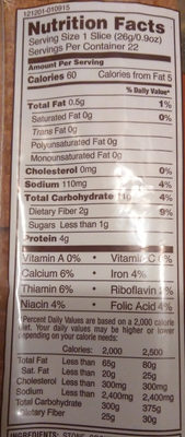 100% Whole Wheat Bread - Nutrition facts