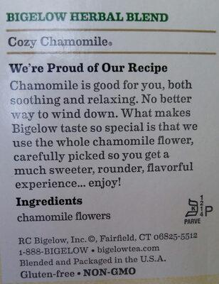 Cozy Chamomile herbal tea - Ingredients
