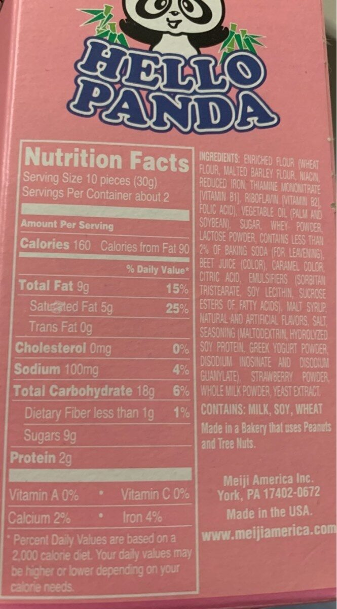Meiji, biscuits with strawberry creme, strawberry creme - Nutrition facts - en