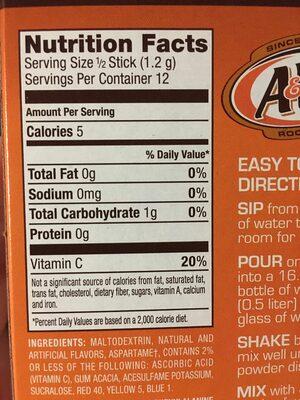 Root beer - Nutrition facts - en