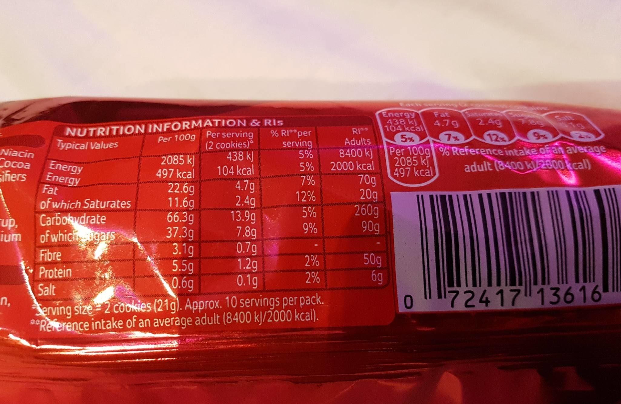Cookies Choc Chip - Nutrition facts - en