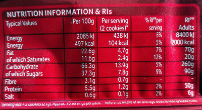 Cookies choco chip - Nutrition facts - en